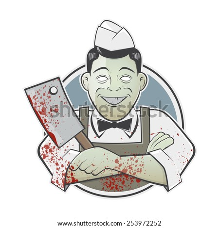 cartoon butcher with bloody cleaver in a badge - stock vector