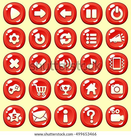 Cartoon buttons set game with icon.Vector illustration,GUI elements for mobile games,video games.