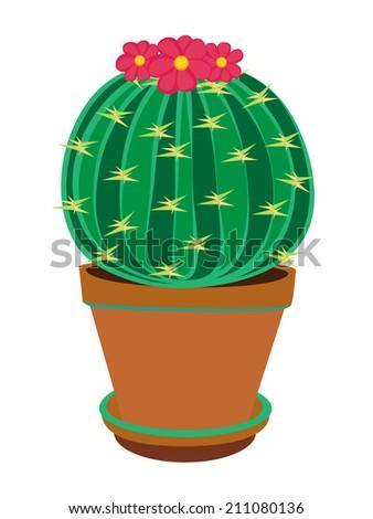 Cartoon cactus isolated - stock vector