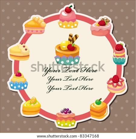 cartoon cake card - stock vector