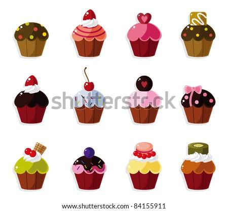 cartoon cake icons set - stock vector