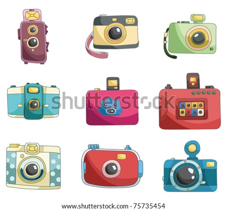 cartoon camera icon - stock vector