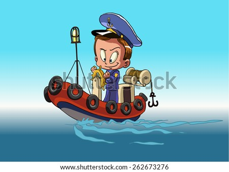 Cartoon captain sailor in uniform on the ship. is insulated