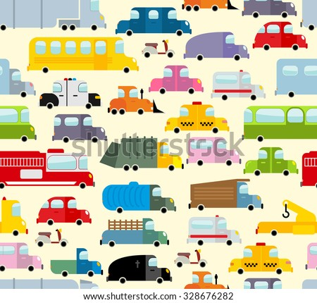 Cartoon car pattern. City traffic jam. Diverse ground Transoprt. Background seamless toy car. Passenger and freight transport. Hearse and ambulance car.  - stock vector