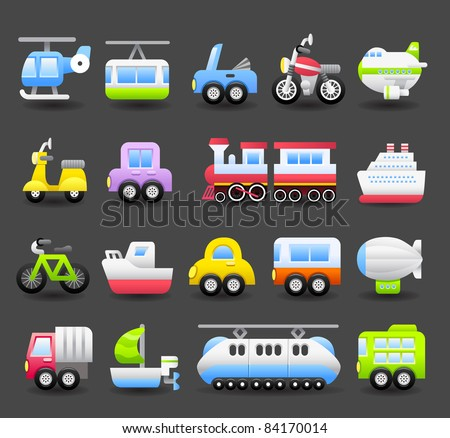 cartoon car,vehicle icon set | Dark series - stock vector
