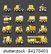 cartoon car,vehicle, transportation and Construction machineicon icon set - stock photo