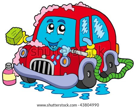 Cartoon car wash - vector illustration. - stock vector