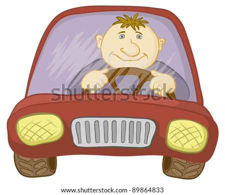 Cartoon, car with a man driver, isolated on white. Vector - stock vector