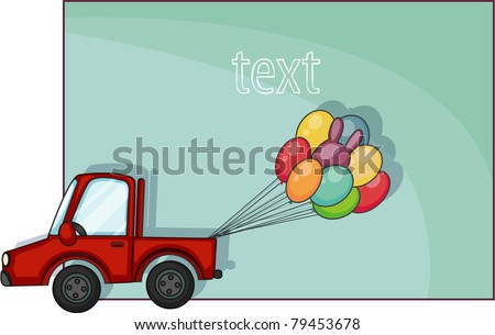 Cartoon car with balloons on a blank banner background.