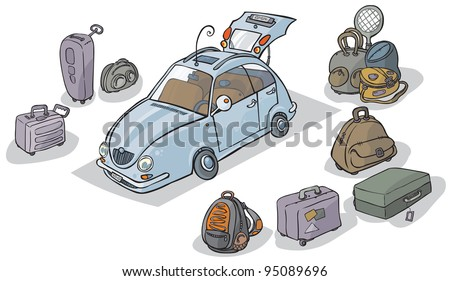 Cartoon Car with luggage around. - stock vector
