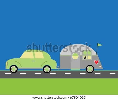 Cartoon car with trailer - stock vector