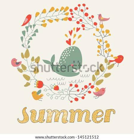 Cartoon card with funny whale, flowers and birds in vector. Bright summer background. Floral invitation in bright colors - stock vector