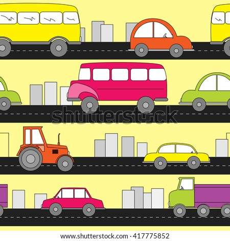 Cartoon cars seamless pattern. Kids background.  - stock vector
