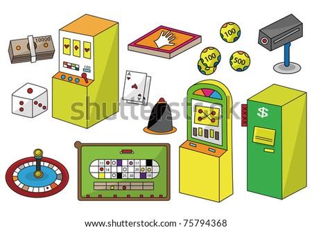 cartoon casino icon - stock vector