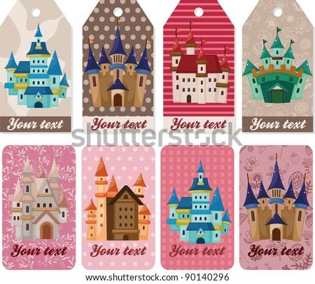cartoon castle card - stock vector