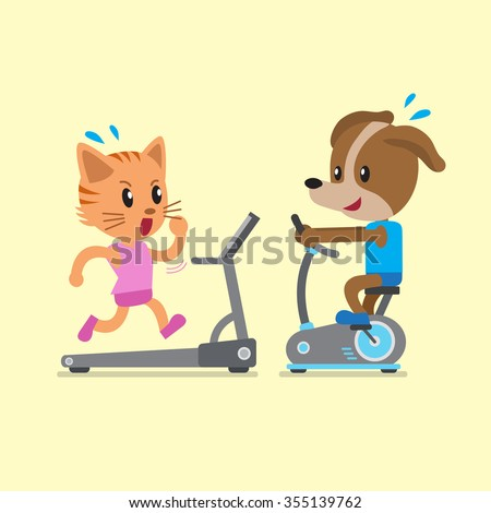 Cartoon cat and dog doing exercise with exercise bike and treadmill - stock vector
