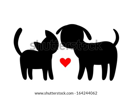 Cartoon cat and dog silhouettes - stock vector