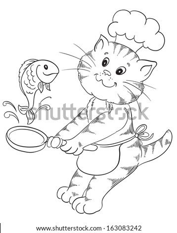 Cartoon cat chef prepares grilled fish
