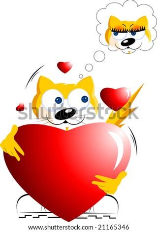 cartoon cat dreaming love - stock vector