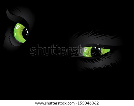 Cartoon cat eyes of green color on black background. - stock vector