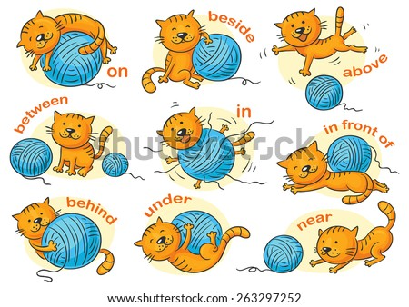 Cartoon cat in different poses to illustrate the prepositions of place, no gradients - stock vector