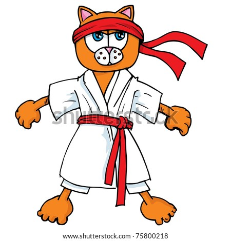 Cartoon cat in karate outfit. Isolated on white - stock vector