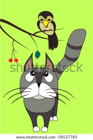 cartoon cat looking to the bird on the branch
