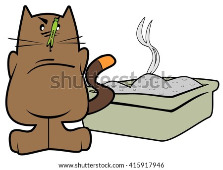 Cartoon cat standing in front of a stinky litter box