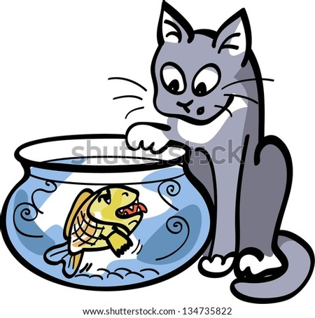 cartoon cat trying to catch a fish that is too hungry - stock vector