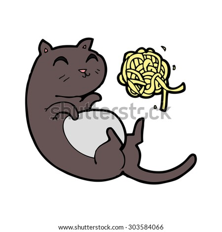 cartoon cat with ball of yarn - stock vector