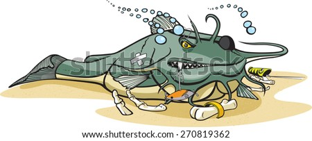Cartoon Catfish. Layered vector file available. Bottom Cat - stock vector