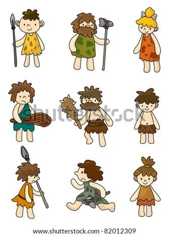 cartoon Caveman icon set,vector - stock vector