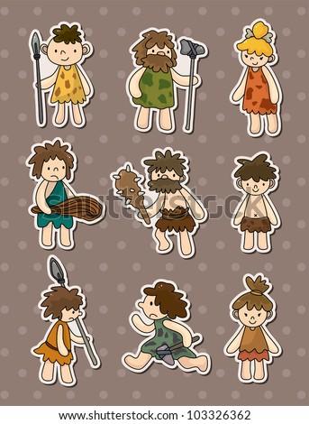 cartoon Caveman stickers - stock vector
