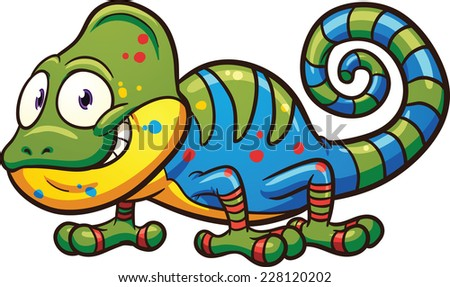 Cartoon chameleon. Vector clip art illustration with simple gradients. All in a single layer.  - stock vector
