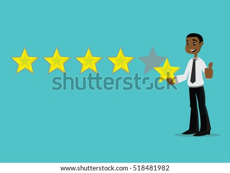 Cartoon character, African businessman holding a star for giving five star rating., vector eps10