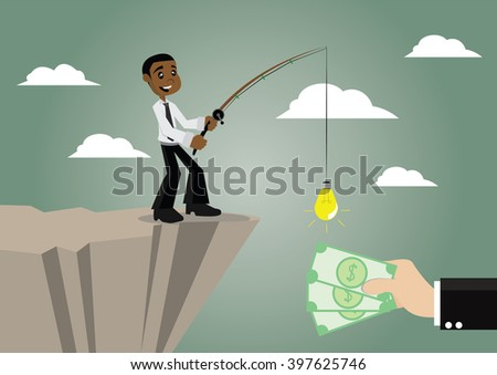 Cartoon character, African businessmen make money by using a fishing rod and ideas., vector eps10 - stock vector