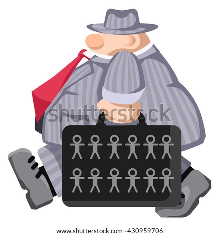 Cartoon character briefcase carrying figures, vector illustration, horizontal, isolated, over white  - stock vector