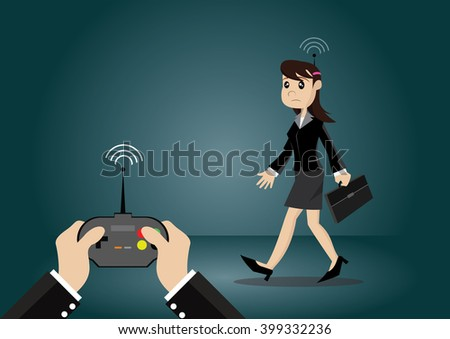 Cartoon character, business woman that are forced by the remote control, vector eps10 - stock vector