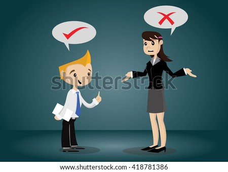 Cartoon character, Businessman and woman thinking right and wrong, vector eps10 - stock vector