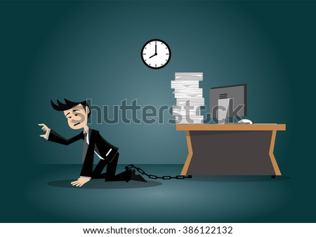 Cartoon character, Businessman being chained to a desk., vector eps10 - stock vector