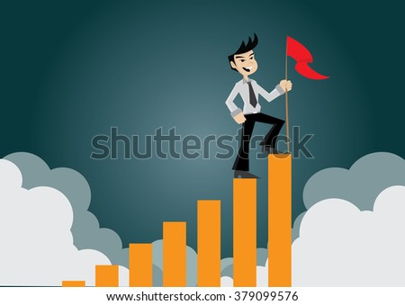 Cartoon character, Businessman holding a flag on top the graph., vector eps10 - stock vector