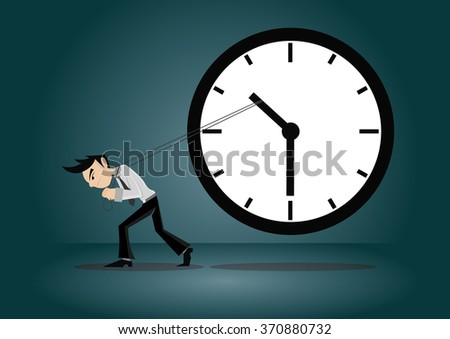Cartoon character, Businessman trying to pull to stop time., vector eps10 - stock vector