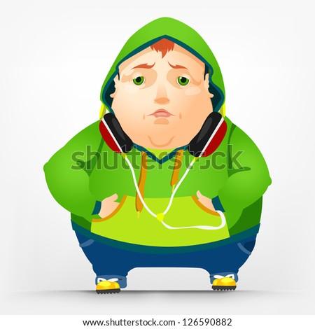 Cartoon Character Cheerful Chubby Men. Sad. Vector Illustration. EPS 10. - stock vector