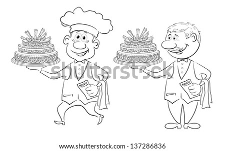 Cartoon character cook and waiter with holiday cake, black contour on white background. Vector - stock vector
