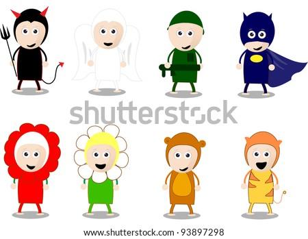 cartoon character costumes kids - stock vector
