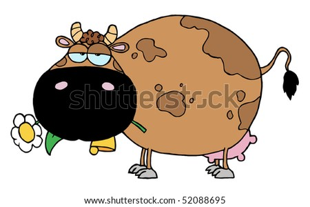 Cartoon Character Cow Different Color Brown