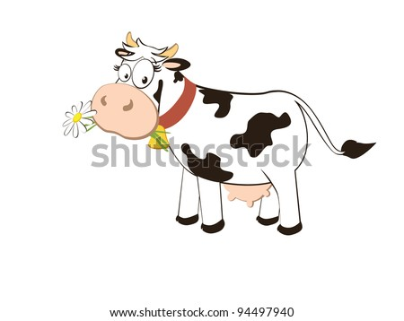 Cartoon character cow isolated on white background. vector. - stock vector