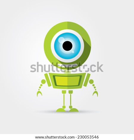 Cartoon Character Cute green Robot Isolated on Grey Gradient - stock vector