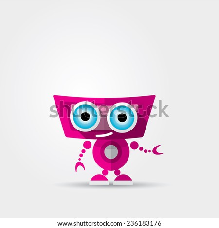 Cartoon Character Cute pink Robot Isolated on Grey Gradient - stock vector
