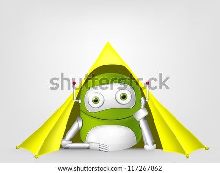 Cartoon Character Cute Robot Isolated on Grey Gradient Background. Camping. Vector EPS 10. - stock vector